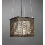 Clarus Square Shaded Geometric Cutout Pendant - Cast Bronze / Opal
