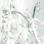 Icy Lady Oval Chandelier - White / Crystal