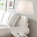 Tau Madera Table Lamp - White Lacquer / White Cotton