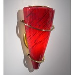 2969 Wall Light - Antique Brass / Magma Red
