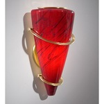 2969 Wall Light - Brushed Brass / Magma Red