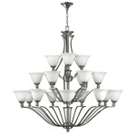 Bolla Uplight Chandelier - Brushed Nickel / Opal /