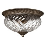 Plantation 16 inch Ceiling Light Fixture - Pearl Bronze / Clear Optic /