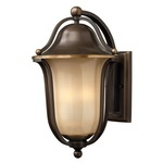 Bolla Curved Arm Outdoor Wall Light - Olde Bronze / Light Amber Seedy /