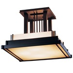 Steppe Large Semi Flush Ceiling Light - Black / White Art