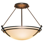 Presidio Tryne Semi Flush Ceiling Light - Bronze / Opal