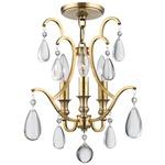 Crawford Semi Flush Ceiling Light - Aged Brass / Crystal