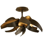 Corona Semi Flush Ceiling Light - Dark Smoke / Clear and Frosted