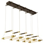 Otto Multi Light Pendant - Black / Brass Accents / Frosted