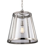 Harrow 1 Light Pendant - Polished Nickel / Clear Seeded