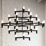Crown Major Chandelier - Matte Black / Sandblasted Glass