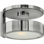Broadway Wall / Ceiling Light - Polished Aluminum / Etched Glass