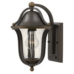 Bolla Curved Arm Outdoor Wall Light - Olde Bronze / Clear Seedy