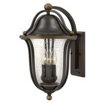 Bolla Curved Arm Outdoor Wall Light - Olde Bronze / Clear Seedy /