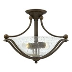 Bolla Semi Flush Ceiling Light - Olde Bronze / Clear Seedy /
