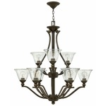 Bolla Uplight Chandelier - Olde Bronze / Clear Seedy /