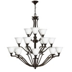 Bolla Uplight Chandelier - Olde Bronze / Etched Opal /
