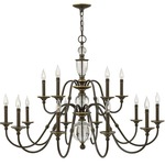 Eleanor Chandelier - Light Oiled Bronze /