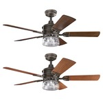 Lyndon Outdoor Ceiling Fan with Light - Olde Bronze / Clear Seeded