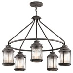 Ashland Bay Outdoor Chandelier - Weathered Zinc / Clear