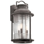 Ashland Bay 3 Light Outdoor Wall Light - Weathered Zinc / Clear