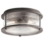 Ashland Bay Outdoor Ceiling Light Fixture - Weathered Zinc / Clear