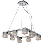 Blocs 8 Light Square Suspension - Chrome / Clear / Frosted