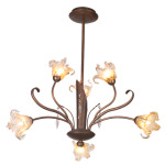 Bloom 6 Light Suspension - Antique Bronze / Amber Murano
