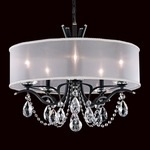Vesca Shaded Chandelier - Ferro Black / White Fabric / Heritage Crystals