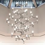 Crown Summa Pendant Chandelier - Polished Aluminum / Sandblasted Glass