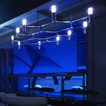 Crown Plana Pendant - Polished Aluminum / Sandblasted Glass