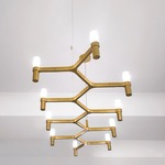 Crown Plana Linea Pendant - Gold / Sandblasted Glass