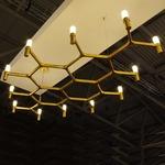 Crown Plana Mega Pendant - Gold / Sandblasted Glass