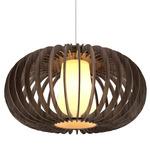 Wooden Oval Turned Slats Pendant - Satin Nickel / Walnut