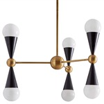 Caracas Six Light Chandelier - Brass / White