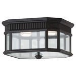 Cotswold Lane Outdoor Ceiling Light Fixture - Black / Clear Beveled