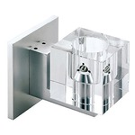 Cube Crystal Wall Sconce - Satin Aluminum / Crystal