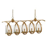 Maximus Rectangle Chandelier - Gold Leaf / Clear