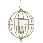 Broxton Orb Chandelier - Silver Leaf / Clear Seeded