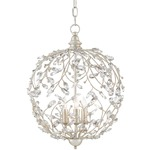 Crystal Bud Sphere Chandelier - Silver Granello / Crystal