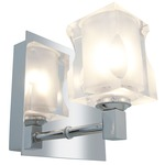 Glase Square Crystal Bathroom Vanity Light - Chrome / Frosted