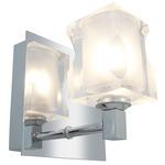 Glase Square Crystal Bathroom Vanity Light - Chrome / Frosted