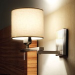 Berilio Reading Swing Arm Wall Sconce - Satin Nickel / Off White