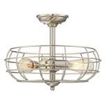 Scout Round Ceiling Semi Flush Light - Satin Nickel
