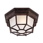 5206 Outdoor Ceiling Flush Light - Rustic Bronze / Frosted