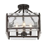 Glenwood Ceiling Semi Flush Light - English Bronze / Clear Water Piastra