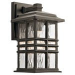 Beacon Square Outdoor Wall Light - Olde Bronze / Clear Hammered