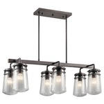 Lyndon Outdoor Linear Chandelier - Architectural Bronze / Clear Seeded