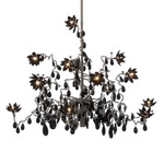 Jewel 15 Light Chandelier - Stainless Steel / Black