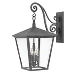Trellis Outdoor Hanging Scroll Wall Light - Aged Zinc /
